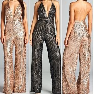 Rose gold sequin jumpsuit